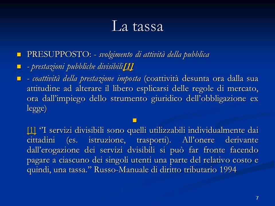 7 La tassa PRESUPPOSTO: - svolgimento di attività della pubblica PRESUPPOSTO: - svolgimento di attività della pubblica - prestazioni pubbliche divisib