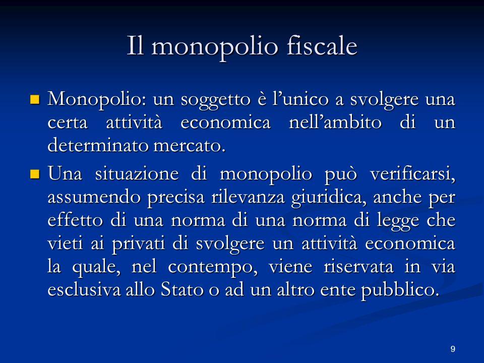 9 Il monopolio fiscale Monopolio: un soggetto è l'unico a svolgere una certa attività economica nell'ambito di un determinato mercato. Monopolio: un s