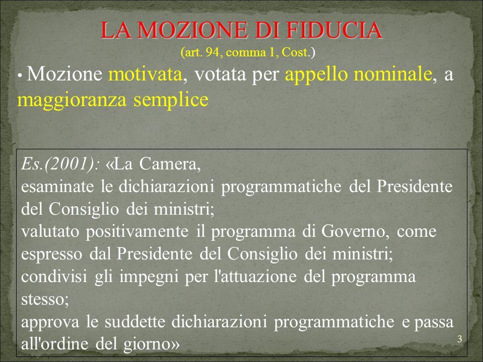 3 LA MOZIONE DI FIDUCIA (art. 94, comma 1, Cost.) Mozione motivata, votata per appello nominale, a maggioranza semplice Es.(2001): «La Camera, esamina