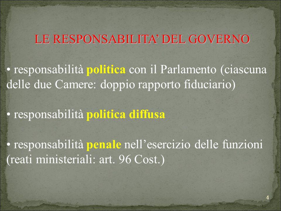 4 LE RESPONSABILITA' DEL GOVERNO responsabilità politica con il Parlamento (ciascuna delle due Camere: doppio rapporto fiduciario) responsabilità politica diffusa responsabilità penale nell'esercizio delle funzioni (reati ministeriali: art.