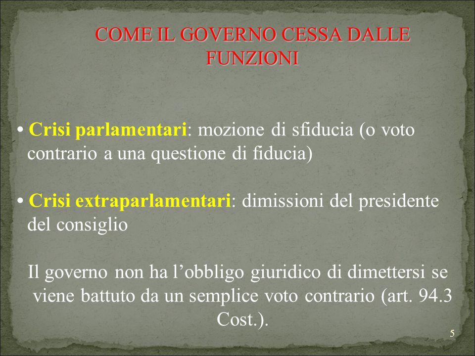 5 COME IL GOVERNO CESSA DALLE FUNZIONI COME IL GOVERNO CESSA DALLE FUNZIONI Crisi parlamentari: mozione di sfiducia (o voto contrario a una questione