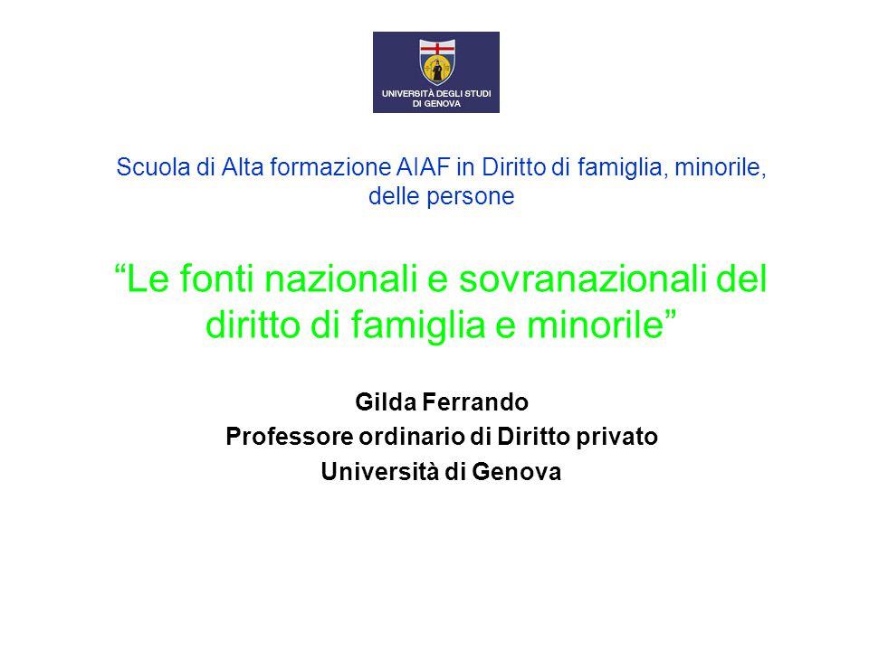 """Scuola di Alta formazione AIAF in Diritto di famiglia, minorile, delle persone """"Le fonti nazionali e sovranazionali del diritto di famiglia e minorile"""
