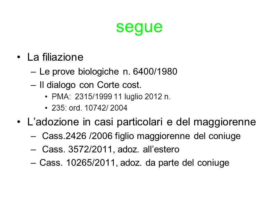segue La filiazione –Le prove biologiche n. 6400/1980 –Il dialogo con Corte cost. PMA: 2315/1999 11 luglio 2012 n. 235: ord. 10742/ 2004 L'adozione in