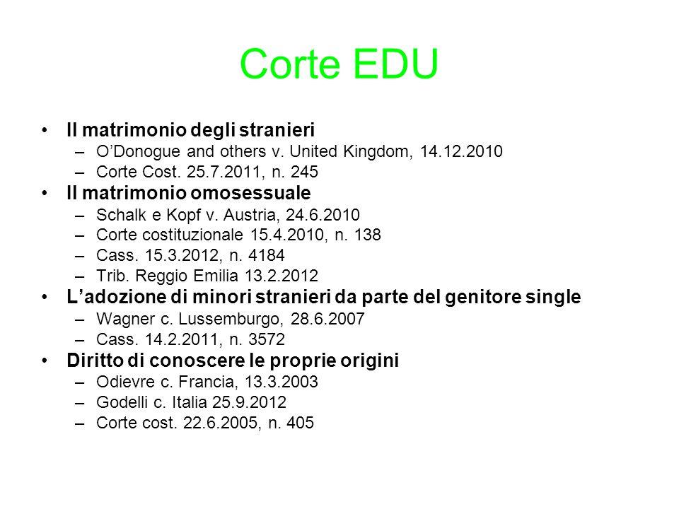 Corte EDU Il matrimonio degli stranieri –O'Donogue and others v. United Kingdom, 14.12.2010 –Corte Cost. 25.7.2011, n. 245 Il matrimonio omosessuale –