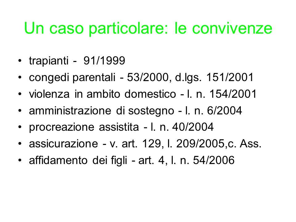 Un caso particolare: le convivenze trapianti - 91/1999 congedi parentali - 53/2000, d.lgs. 151/2001 violenza in ambito domestico - l. n. 154/2001 ammi