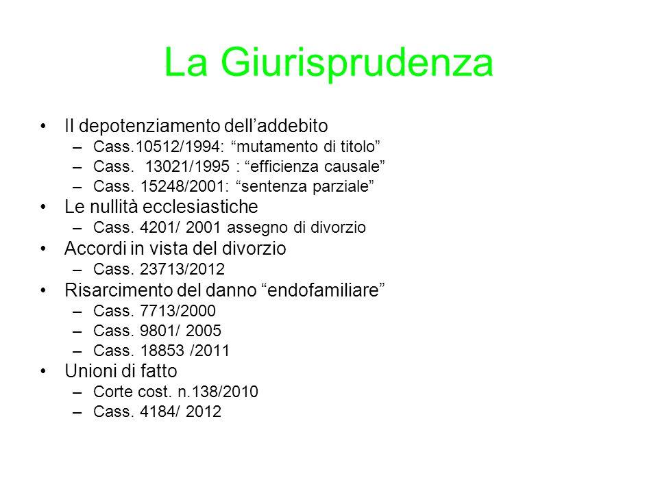 La Giurisprudenza Il depotenziamento dell'addebito –Cass.10512/1994: mutamento di titolo –Cass.