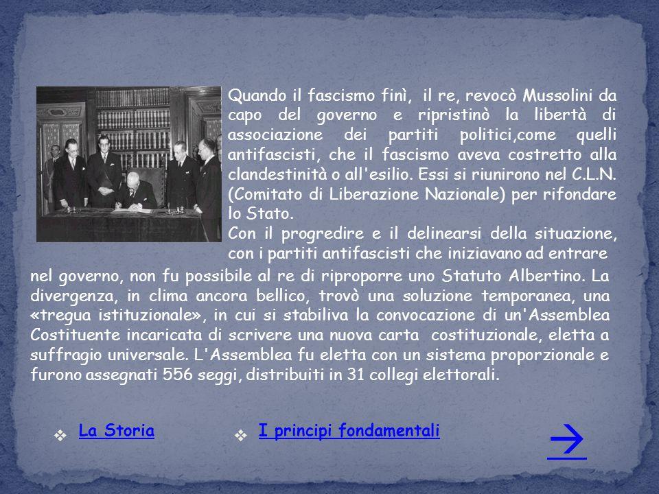 Quando il fascismo finì, il re, revocò Mussolini da capo del governo e ripristinò la libertà di associazione dei partiti politici,come quelli antifasc