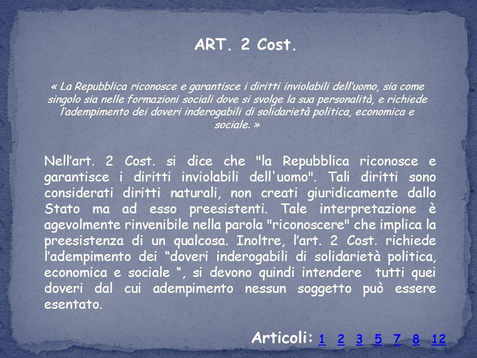 Nell'art. 2 Cost. si dice che