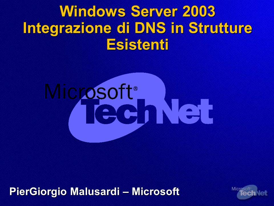 Windows Server 2003 Integrazione di DNS in Strutture Esistenti PierGiorgio Malusardi – Microsoft