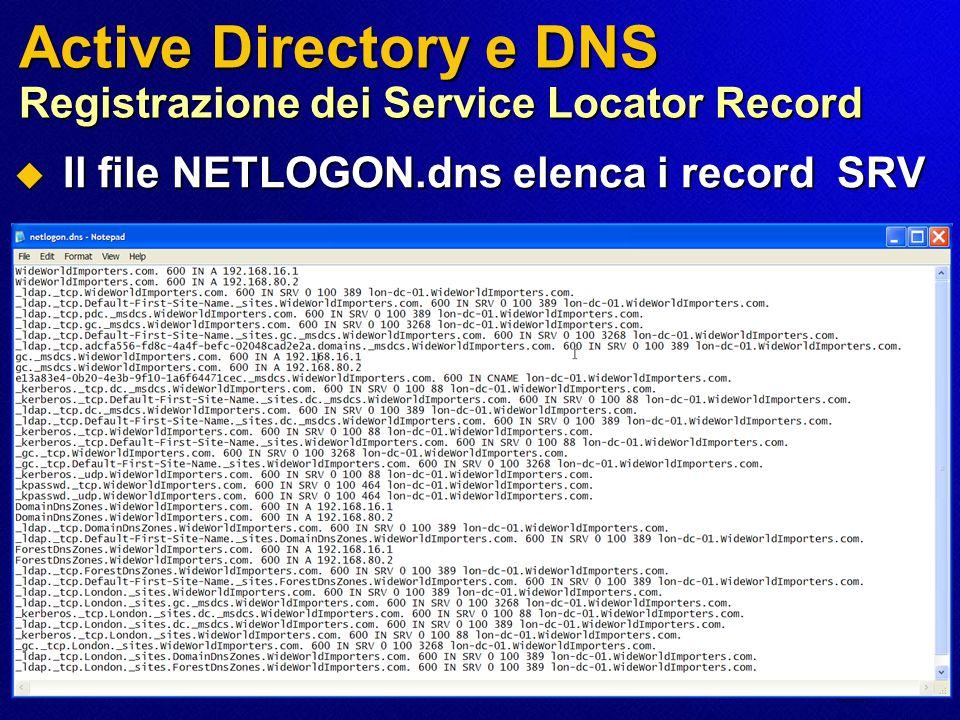 Active Directory e DNS Registrazione dei Service Locator Record  Il file NETLOGON.dns elenca i record SRV