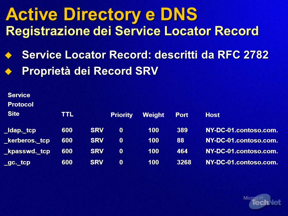 Active Directory e DNS Registrazione dei Service Locator Record  Service Locator Record: descritti da RFC 2782  Proprietà dei Record SRV _ldap._tcp 600SRV0100389NY-DC-01.contoso.com.