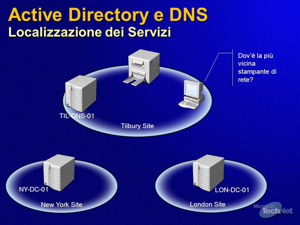 Active Directory e DNS Localizzazione dei Servizi Tilbury Site London Site New York Site NY-DC-01 LON-DC-01 TIL-DNS-01 Dov'è la più vicina stampante di rete