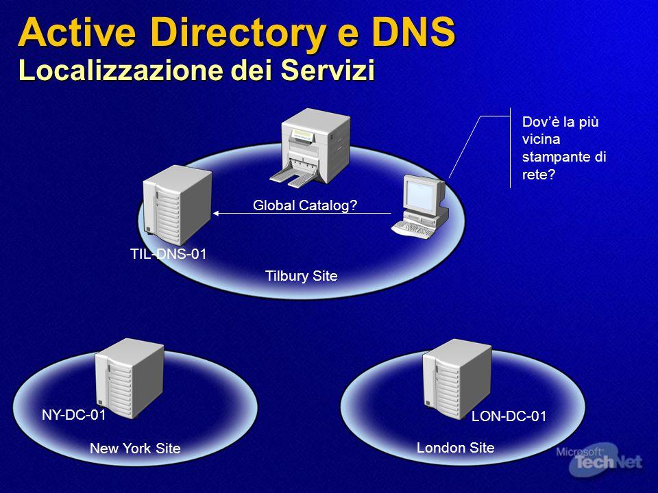 Active Directory e DNS Localizzazione dei Servizi Tilbury Site London Site New York Site NY-DC-01 LON-DC-01 TIL-DNS-01 Dov'è la più vicina stampante di rete.