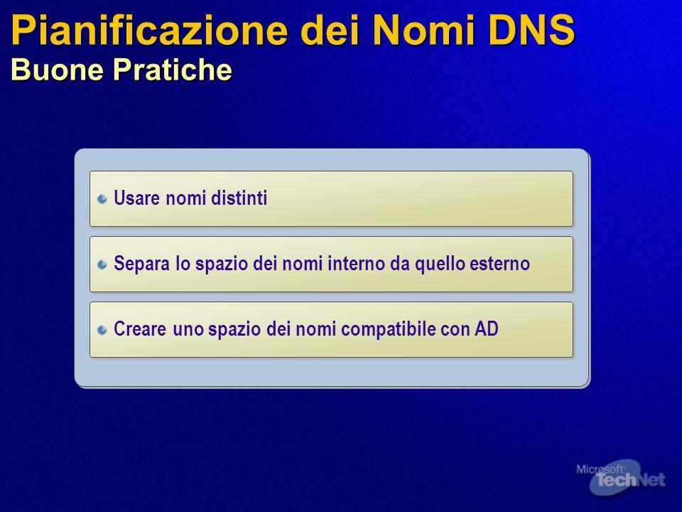 Pianificazione dei Nomi DNS Buone Pratiche Usare nomi distinti Creare uno spazio dei nomi compatibile con AD Separa lo spazio dei nomi interno da quel