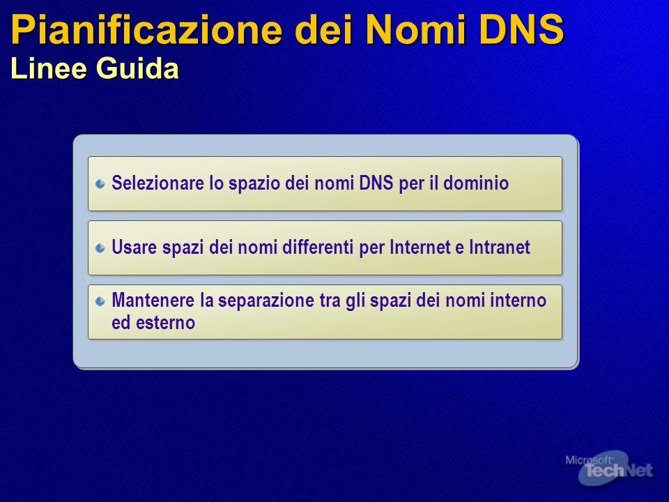Pianificazione dei Nomi DNS Linee Guida Selezionare lo spazio dei nomi DNS per il dominio Mantenere la separazione tra gli spazi dei nomi interno ed e