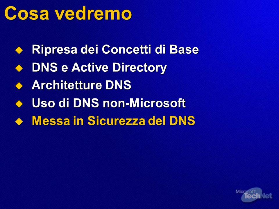 Cosa vedremo  Ripresa dei Concetti di Base  DNS e Active Directory  Architetture DNS  Uso di DNS non-Microsoft  Messa in Sicurezza del DNS