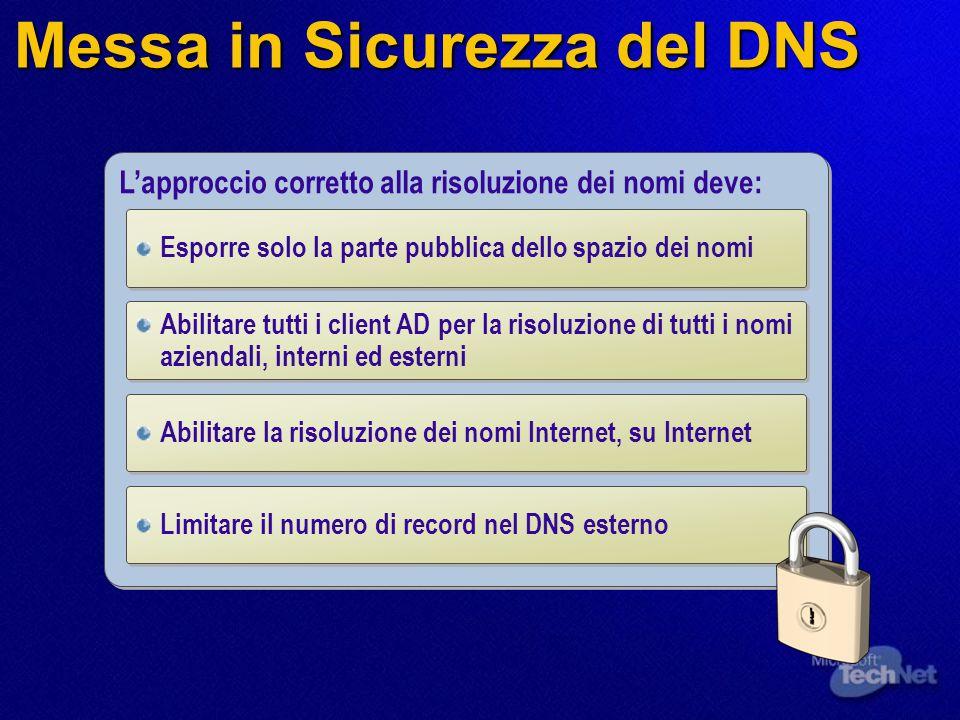 Messa in Sicurezza del DNS L'approccio corretto alla risoluzione dei nomi deve: Esporre solo la parte pubblica dello spazio dei nomi Abilitare tutti i client AD per la risoluzione di tutti i nomi aziendali, interni ed esterni Abilitare la risoluzione dei nomi Internet, su Internet Limitare il numero di record nel DNS esterno