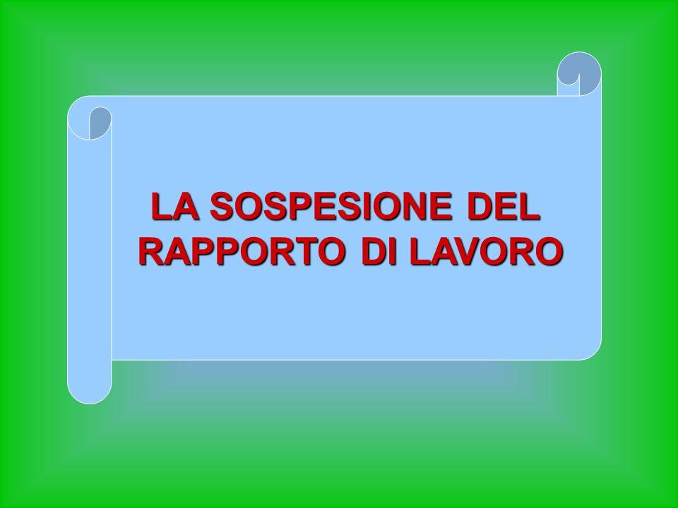 LA SOSPESIONE DEL RAPPORTO DI LAVORO RAPPORTO DI LAVORO