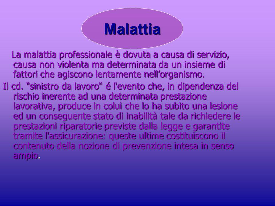 La malattia professionale è dovuta a causa di servizio, causa non violenta ma determinata da un insieme di fattori che agiscono lentamente nell'organismo.