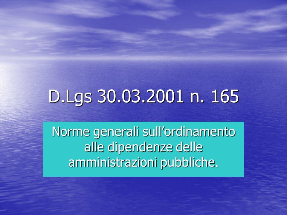 Dlgs 165/01 Art.1 finalità ed ambito di applicazione Art.