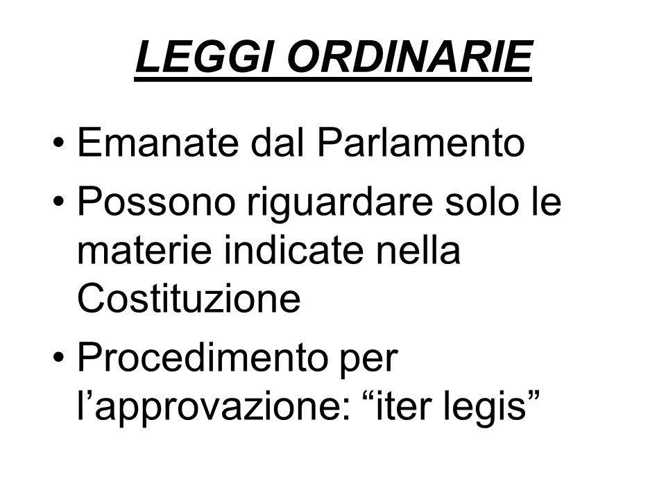 """LEGGI ORDINARIE Emanate dal Parlamento Possono riguardare solo le materie indicate nella Costituzione Procedimento per l'approvazione: """"iter legis"""""""