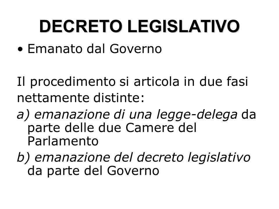 DECRETO LEGISLATIVO Emanato dal Governo Il procedimento si articola in due fasi nettamente distinte: a) emanazione di una legge-delega da parte delle