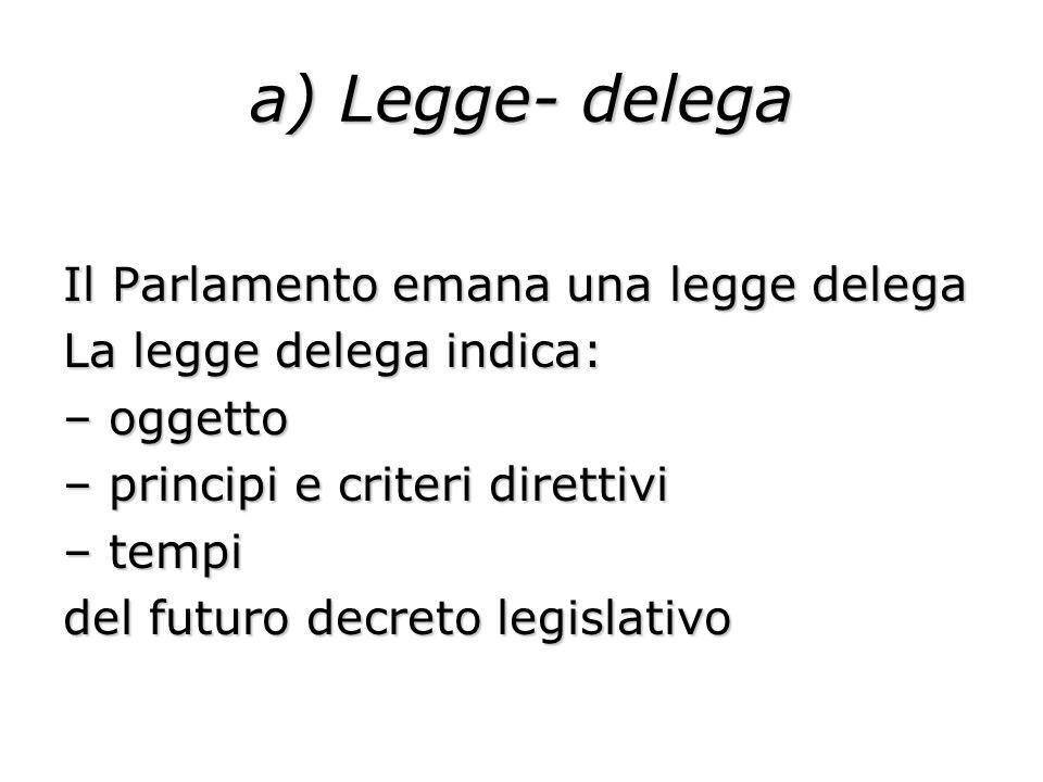a) Legge- delega Il Parlamento emana una legge delega La legge delega indica: – oggetto – principi e criteri direttivi – tempi del futuro decreto legi