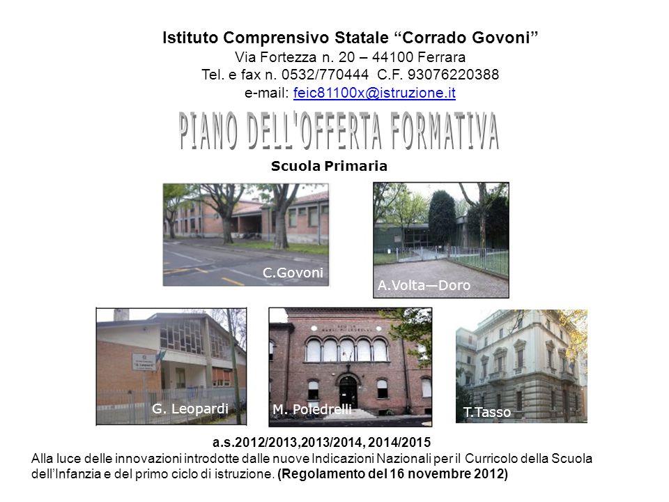 """Istituto Comprensivo Statale """"Corrado Govoni"""" Via Fortezza n. 20 – 44100 Ferrara Tel. e fax n. 0532/770444 C.F. 93076220388 e-mail: feic81100x@istruzi"""