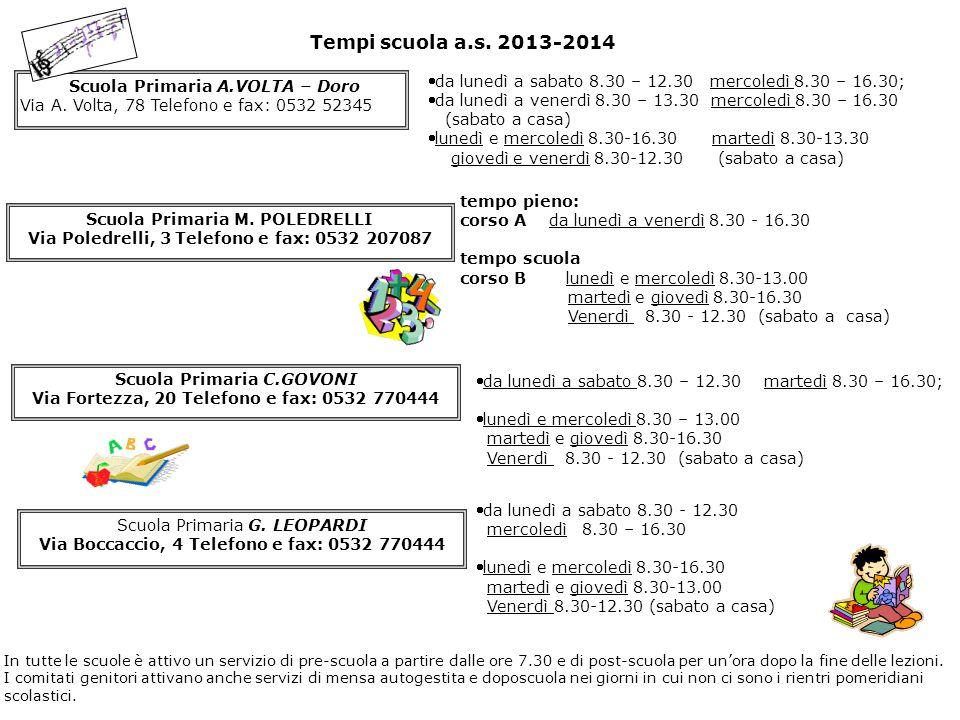 Tempi scuola a.s. 2013-2014 Scuola Primaria A.VOLTA – Doro Via A. Volta, 78 Telefono e fax: 0532 52345 da lunedì a sabato 8.30 – 12.30 mercoledì 8.30