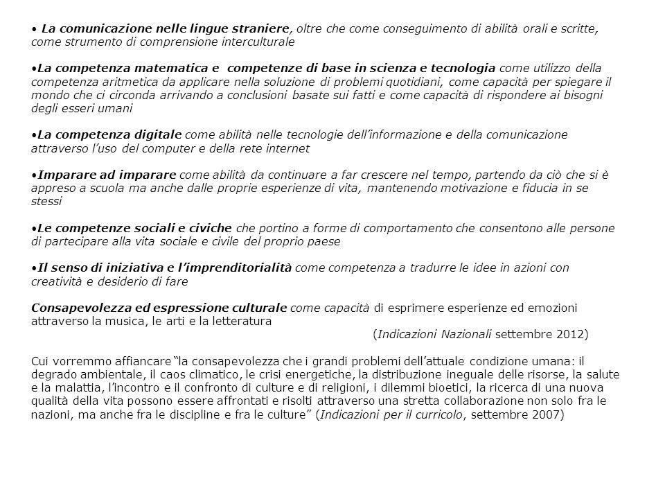 La comunicazione nelle lingue straniere, oltre che come conseguimento di abilità orali e scritte, come strumento di comprensione interculturale La com