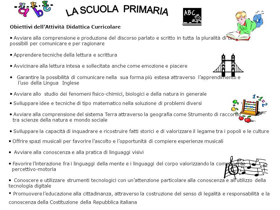 Obiettivi dell'Attività Didattica Curricolare  Avviare alla comprensione e produzione del discorso parlato e scritto in tutta la pluralità di testi p