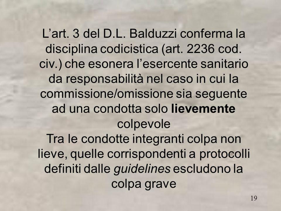 19 L'art. 3 del D.L. Balduzzi conferma la disciplina codicistica (art.