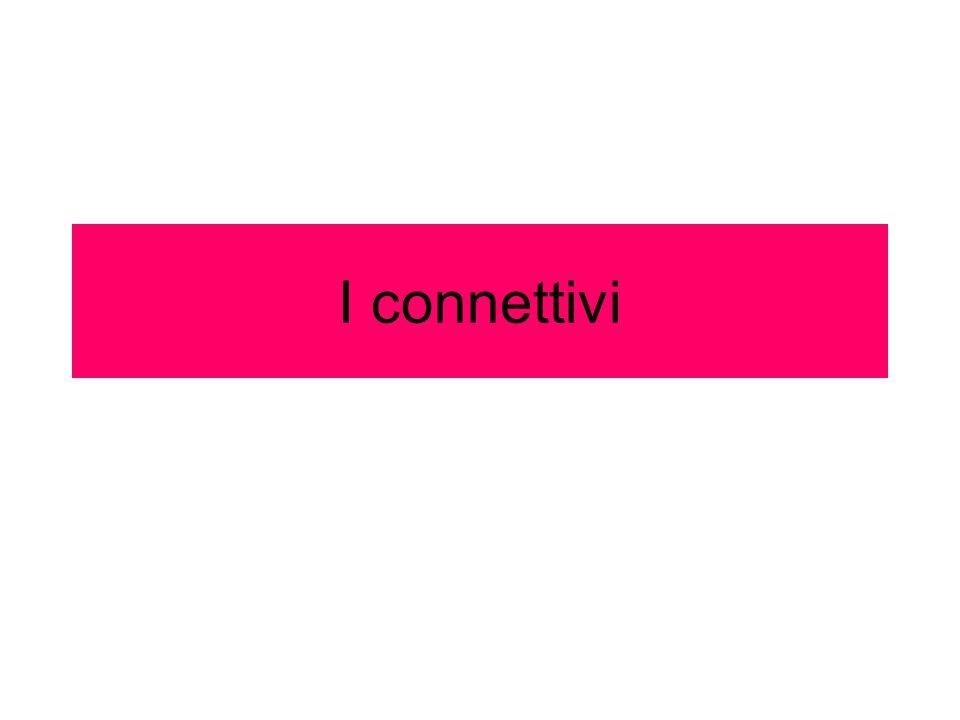 Connettivi spaziali Esprimono rapporti di spazio, anche astrattamente intesi, tra i contenuti dei diversi paragrafi.