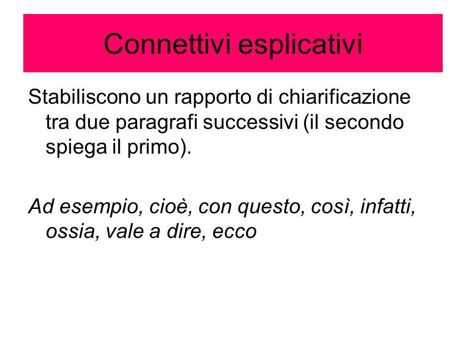 Connettivi esplicativi Stabiliscono un rapporto di chiarificazione tra due paragrafi successivi (il secondo spiega il primo). Ad esempio, cioè, con qu