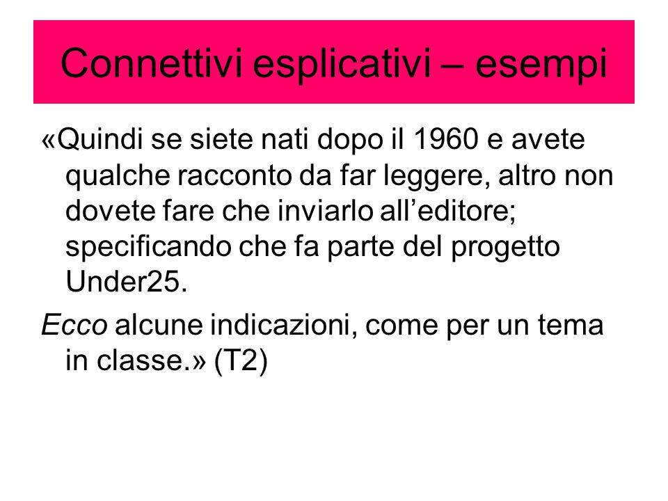 Connettivi esplicativi – esempi «Quindi se siete nati dopo il 1960 e avete qualche racconto da far leggere, altro non dovete fare che inviarlo all'edi