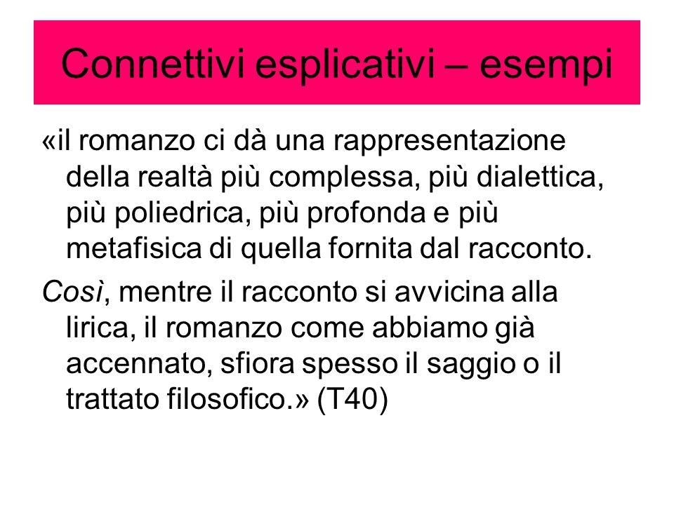 Connettivi esplicativi – esempi «il romanzo ci dà una rappresentazione della realtà più complessa, più dialettica, più poliedrica, più profonda e più