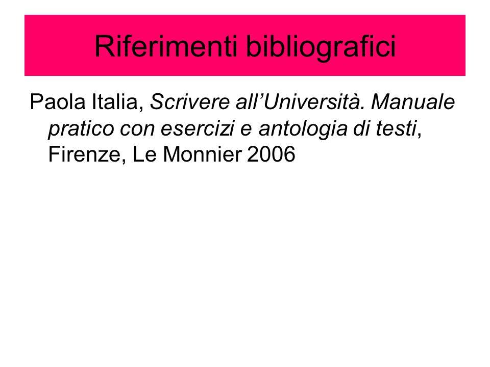 Riferimenti bibliografici Paola Italia, Scrivere all'Università. Manuale pratico con esercizi e antologia di testi, Firenze, Le Monnier 2006
