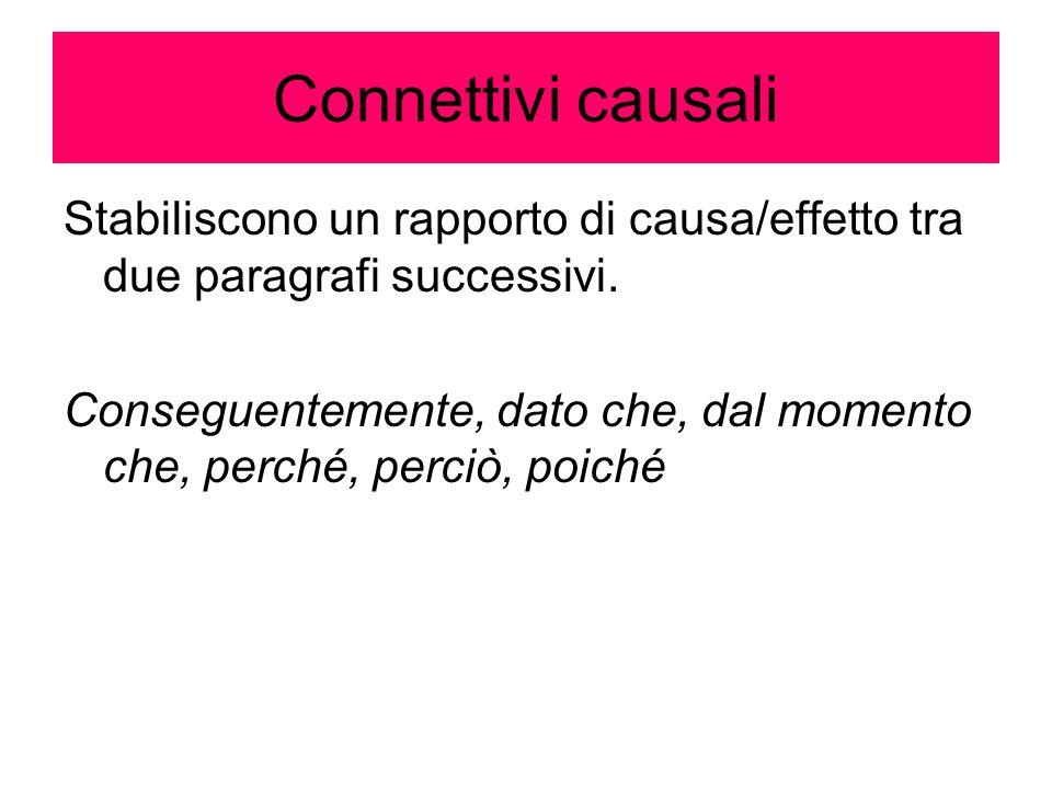 Connettivi causali Stabiliscono un rapporto di causa/effetto tra due paragrafi successivi. Conseguentemente, dato che, dal momento che, perché, perciò