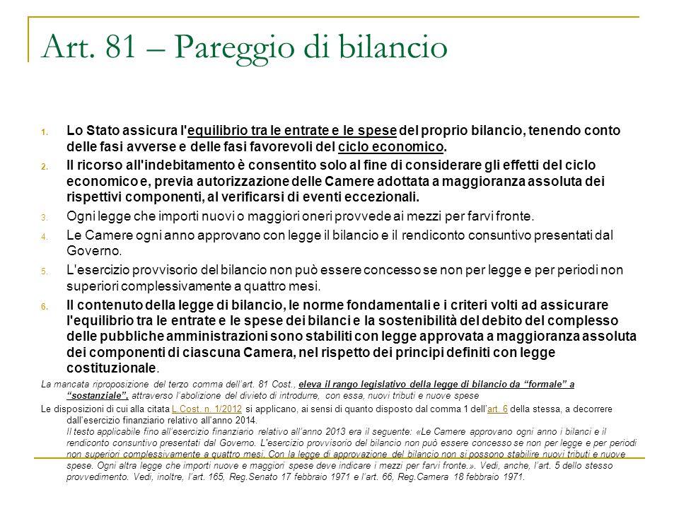 Art. 81 – Pareggio di bilancio 1. Lo Stato assicura l'equilibrio tra le entrate e le spese del proprio bilancio, tenendo conto delle fasi avverse e de