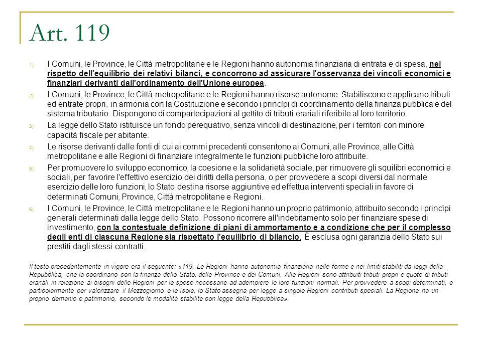 Art. 119 1) I Comuni, le Province, le Città metropolitane e le Regioni hanno autonomia finanziaria di entrata e di spesa, nel rispetto dell'equilibrio