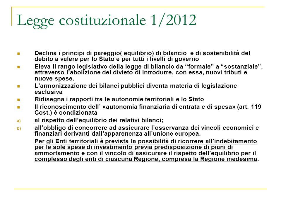 Legge costituzionale 1/2012 Declina i principi di pareggio( equilibrio) di bilancio e di sostenibilità del debito a valere per lo Stato e per tutti i