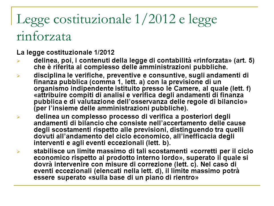 Legge costituzionale 1/2012 e legge rinforzata La legge costituzionale 1/2012  delinea, poi, i contenuti della legge di contabilità «rinforzata» (art