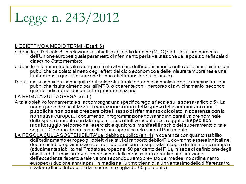 Legge n. 243/2012 L'OBIETTIVO A MEDIO TERMINE (art. 3) è definito, all'articolo 3, in relazione all'obiettivo di medio termine (MTO) stabilito all'ord