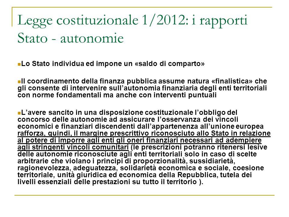 Legge costituzionale 1/2012: i rapporti Stato - autonomie Lo Stato individua ed impone un «saldo di comparto» Il coordinamento della finanza pubblica