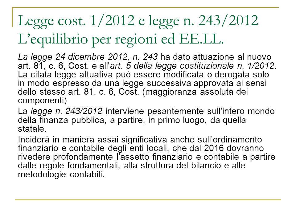 Legge cost. 1/2012 e legge n. 243/2012 L'equilibrio per regioni ed EE.LL. La legge 24 dicembre 2012, n. 243 ha dato attuazione al nuovo art. 81, c. 6,