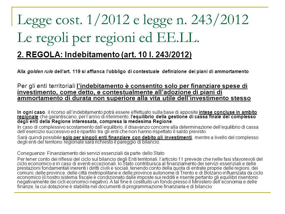Legge cost. 1/2012 e legge n. 243/2012 Le regoli per regioni ed EE.LL. 2. REGOLA: Indebitamento (art. 10 l. 243/2012) Alla golden rule dell'art. 119 s