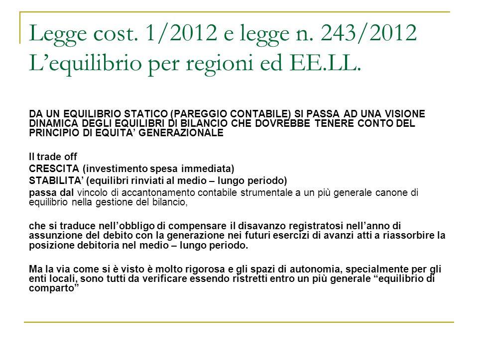 Legge cost. 1/2012 e legge n. 243/2012 L'equilibrio per regioni ed EE.LL. DA UN EQUILIBRIO STATICO (PAREGGIO CONTABILE) SI PASSA AD UNA VISIONE DINAMI