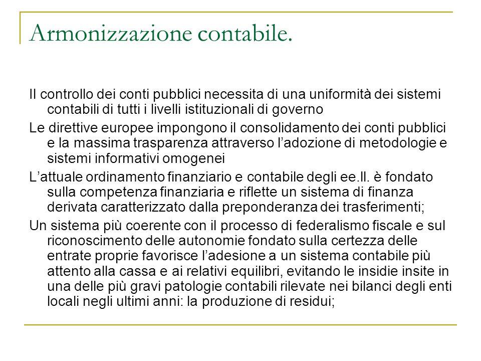 Armonizzazione contabile. Il controllo dei conti pubblici necessita di una uniformità dei sistemi contabili di tutti i livelli istituzionali di govern