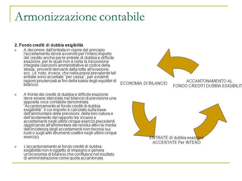 Armonizzazione contabile 2. Fondo crediti di dubbia esigibilità A decorrere dall'entrata in vigore del principio l'accertamento dovrà avvenire per l'i