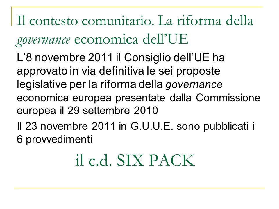 Il contesto comunitario. La riforma della governance economica dell'UE L'8 novembre 2011 il Consiglio dell'UE ha approvato in via definitiva le sei pr